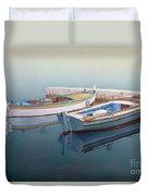 Coastal Wall Art, Fisherman In A Calm, Fishing Boat Paintings Duvet Cover