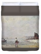 Fisherman In Villerville Duvet Cover