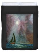 Fisherman Under Full Moon Duvet Cover