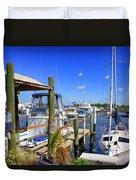 Fishermans Village Marina Fl Duvet Cover