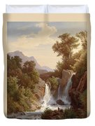 Fishermen By The Waterfall Duvet Cover