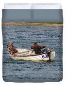 Fishermen In A Boat Duvet Cover