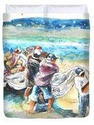 Fishermen In Praia De Mira Duvet Cover
