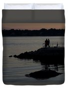 Fishermen Silhouetted By The Sunset Duvet Cover