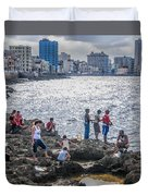 Fishing Along The Malecon Duvet Cover