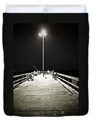 Fishing At Night Duvet Cover