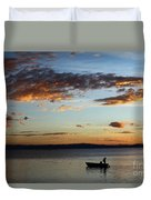 Fishing At Sunset On Lake Titicaca Duvet Cover