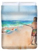 Fishing At The Beach Watercolor Duvet Cover