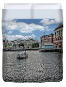 Fishing At The Boardwalk Before The Storm Duvet Cover