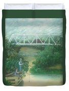 Fishing At The Pump House On White Oak Creek Duvet Cover