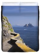 Fishing Boat Approaching Skellig Michael, County Kerry, In Spring Sunshine, Ireland Duvet Cover