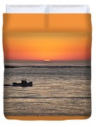 Fishing Boat At Sunrise. Duvet Cover