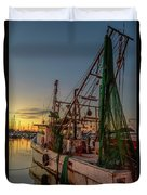 Fishing Boat At Sunset Duvet Cover