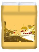 Fishing Boat At The Dock Duvet Cover
