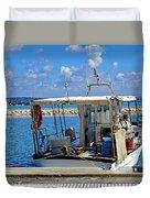 Fishing Boat Moored In The Harbor Of Katakolon Greece Duvet Cover