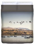 Fishing Boats And Blue Herons Duvet Cover