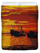 Fishing Boats At Sunset Duvet Cover
