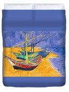 Fishing Boats On The Beach At Saintes Maries De La Mer Duvet Cover