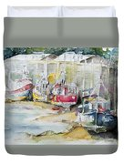 Fishing Boats Settled Aground During Ebb Tide Duvet Cover
