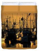 Fishing Boats Sunset Light Duvet Cover
