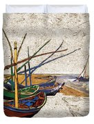 Fishing Boats Van Gogh Digital Art Duvet Cover
