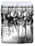 Fishing Buoys In Black And White Duvet Cover