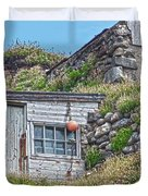 Fishing Huts Cape Cornwall Duvet Cover
