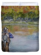 Fishing In Natures Beauty Duvet Cover