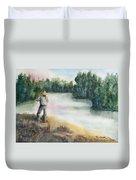 Fishing On The Banks Of The Churchill River, Sask, Ca Duvet Cover