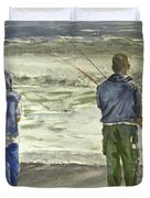 Fishing On The Beach Duvet Cover