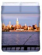 Fishing On The Hudson Duvet Cover