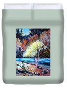 Fishing Painting Catch Of The Day Duvet Cover