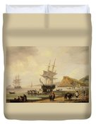 Fishing Scene, Teignmouth Beach And The Ness, 1831 Duvet Cover