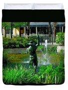 Fishing Statue Duvet Cover