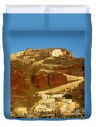 Fishing Town On A Hill Duvet Cover