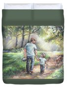 Fishing With My Dad  Duvet Cover by Laurie Shanholtzer
