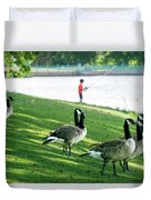 Fishing With The Geese Duvet Cover