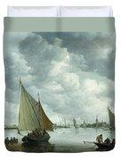 Fishingboat In An Estuary Duvet Cover by Jan Josephsz van Goyen