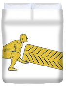 Fitness Athlete Squatting Lifting Tire Drawing Duvet Cover