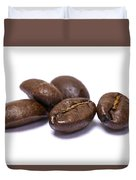 Five Coffee Beans Isolated On White Duvet Cover