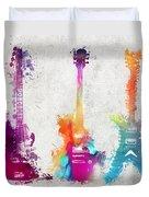 Five Colored Guitars Duvet Cover