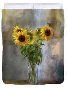 Five Sunflowers Centered Duvet Cover