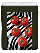 Five Tomatoes  Duvet Cover by Garry Gay