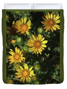 Five Yellow Flowers  Duvet Cover