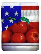 Flag And Apples Duvet Cover