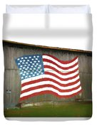 Flag And Barn - Painting Duvet Cover