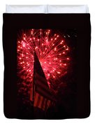 Flag And Fireworks Duvet Cover