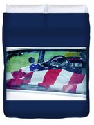 Flag In The  1955 Chevy Bel Air Duvet Cover