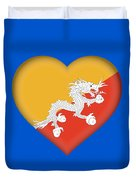 Flag Of Bhutan Heart Duvet Cover