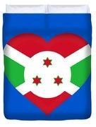 Flag Of Burundi Heart Duvet Cover